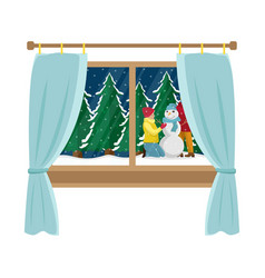 window with the view of the family making snowman vector image
