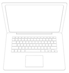 wire-frame open laptop top view vector image