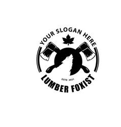 Wolf and axe logo designs simple retro service vector