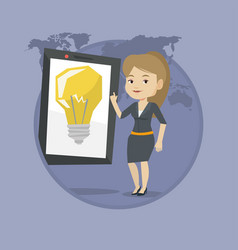 woman pointing at big tablet computer vector image
