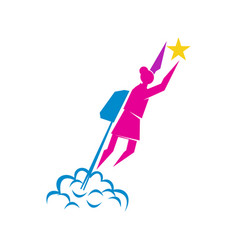 Woman power rocket logo icon symbol isolated vector