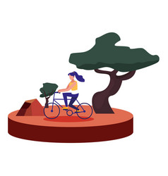 woman riding bike outdoors image vector image