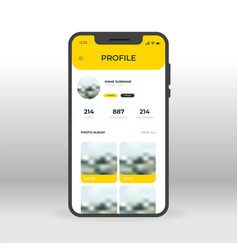 yellow social network profile ui ux gui screen vector image