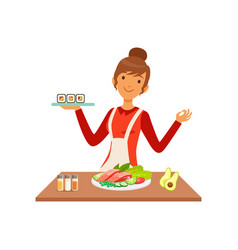 Young cheerful woman making sushi rolls housewife vector