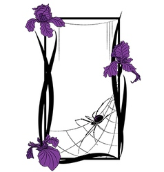 frame with spider and irises vector image vector image