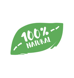 hundred percent natural product letters in grunge vector image vector image