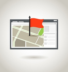 Map and a red flag vector