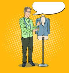pop art male fashion designer with jacket vector image vector image