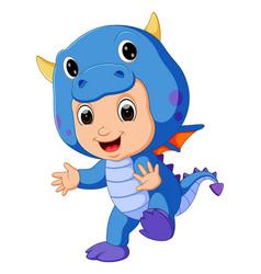 cute kids cartoon wearing dragon costume vector image