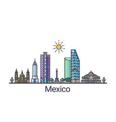 flat line mexico banner vector image