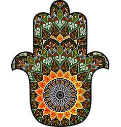 Hamsa with round ethnic pattern vector