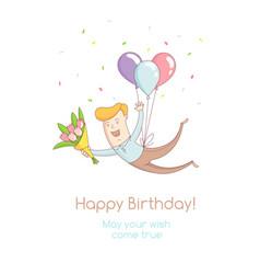happy birthday party greeting card invitation vector image vector image