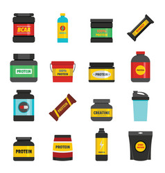 protein sport nutrition icons set flat style vector image