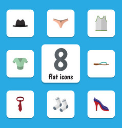 flat icon dress set of foot textile singlet vector image vector image