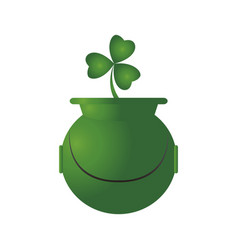 golden coin pot with a clover vector image
