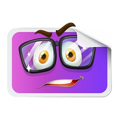Happy face on sticker vector image