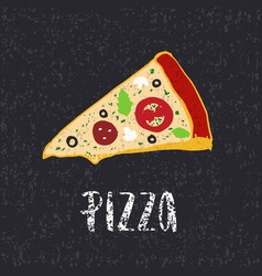 pizza lettering with hand drawn slice of pizza vector image vector image