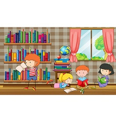 Kids reading books in the library vector image vector image