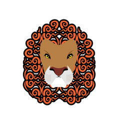 lion abstract emblem mane ornament leo tattoo vector image vector image
