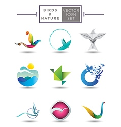 Nature themed emblem collection vector image