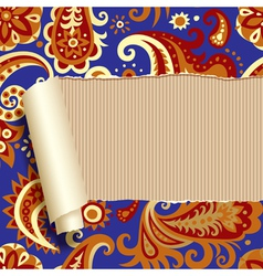 Ripped paper with floral ornament vector image