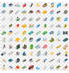 100 corporation icons set isometric 3d style vector