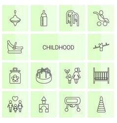 14 childhood icons vector image