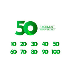 50 years excellent anniversary celebration green vector
