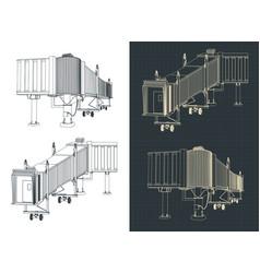 Airport telescopic gangway blueprints vector