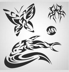 Animals and insects pattern tribal set tattoo vector