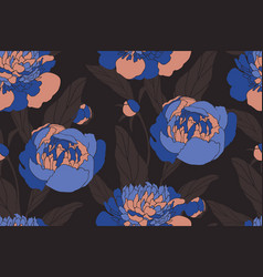 Art floral seamless pattern blue peonies vector