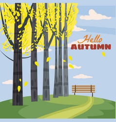 autumn landscape with trees hills branch and vector image