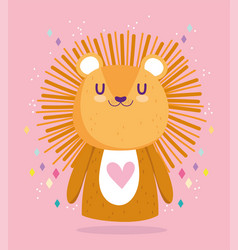 baby shower cute little lion animal cartoon vector image