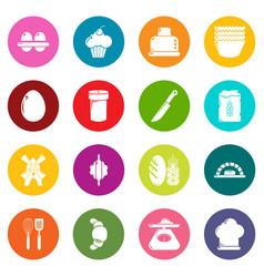 Bakery icons set colorful circles vector