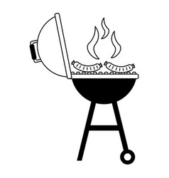 Barbecue grill sausages vector