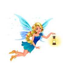 beautiful blonde blue fairy vector image