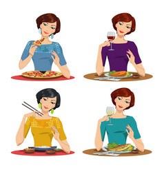 beautiful girl eats a delicious meal vector image