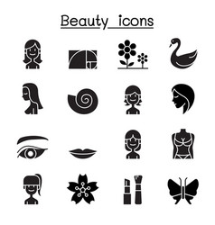 beauty icon set flat style vector image