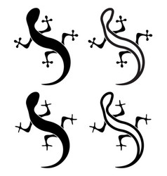 Black and white silhouettes lizard icons of vector