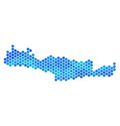 Blue hexagon crete island map vector