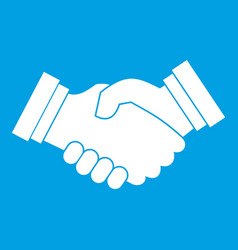 business handshake icon white vector image