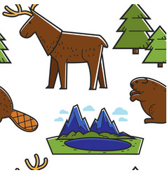canadian nature seamless pattern animals and vector image