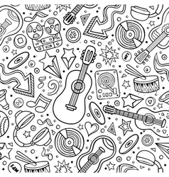 Cartoon hand-drawn musical instruments seamless vector