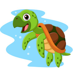 cartoon happy sea turtle swimming vector image