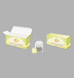 chamomile tea package realistic mockup set vector image
