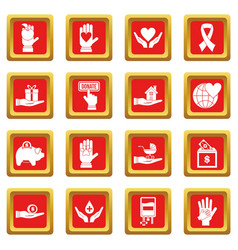 Charity icons set red vector