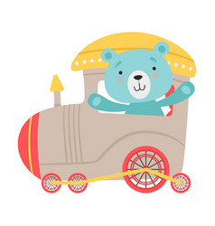 Cheerful red cheeked bear driving toy train vector