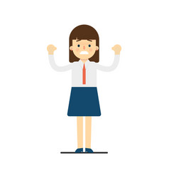 cheerful young woman with hands up gesture vector image