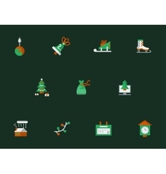 Christmas flat icons on dark green vector