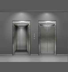 Chrome metal office building elevator doors open vector